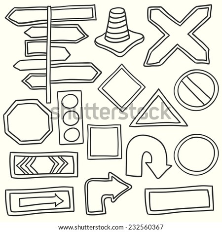 Road signs. Vector illustration. Hand drawn icons. - stock vector