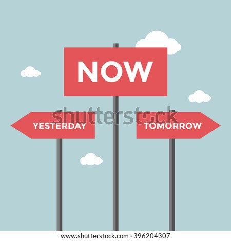 Road signs with words now, yesterday and tomorrow. - stock vector