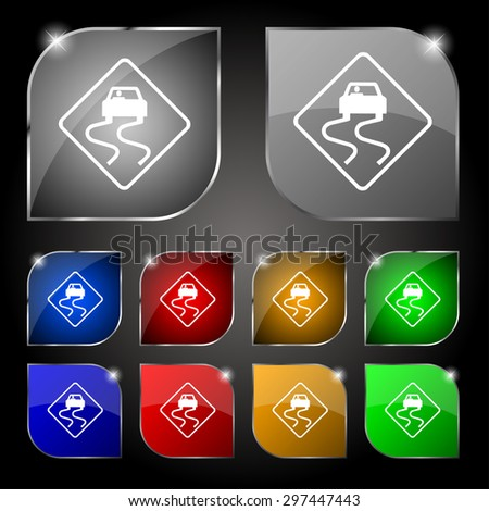Road slippery icon sign. Set of ten colorful buttons with glare. Vector illustration - stock vector