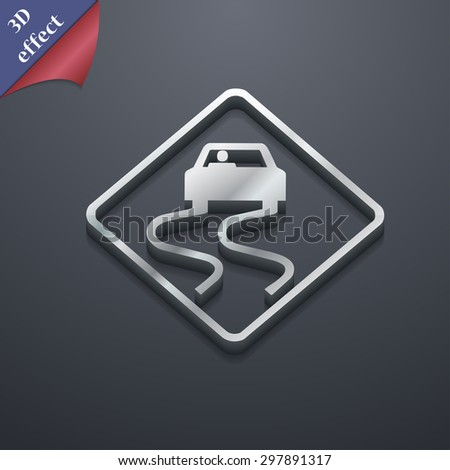 Road slippery icon symbol. 3D style. Trendy, modern design with space for your text Vector illustration - stock vector