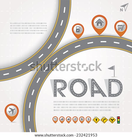 Road & Street Design Template with Map Pointer - Marker Icon Set, Travel Concept, Illustration eps10 - stock vector