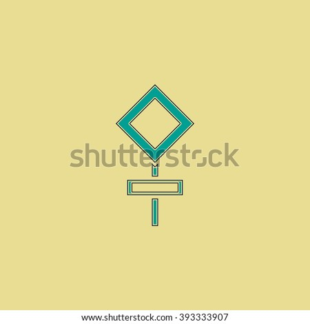 road stroke sign Flat line icon on yellow background. Vector pictogram with stroke - stock vector