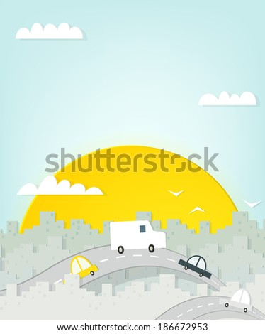 road through the city. cutout illustration - stock vector