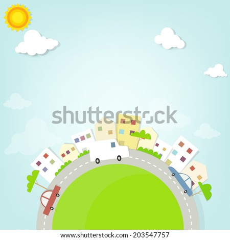 road through town - stock vector