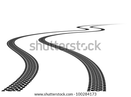 Road Tire Track. Illustration on white background - stock vector