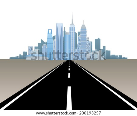 Road to city - stock vector