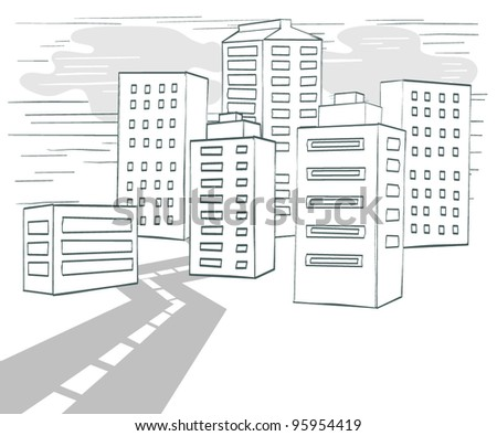 Road to Downtown, Vector Illustration - stock vector