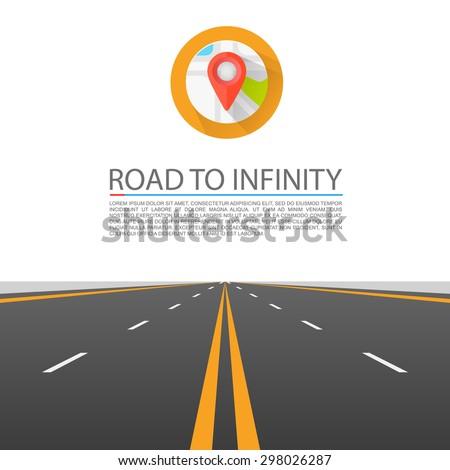 Road to infinity, Road vector highway, Vector illustration, Road background. - stock vector