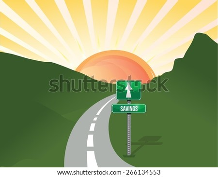 road to savings landscape imagery. illustration design - stock vector