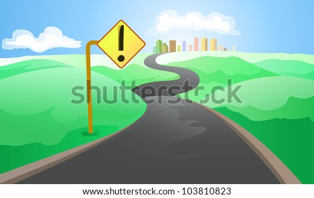 road to the big city with road sign - stock vector