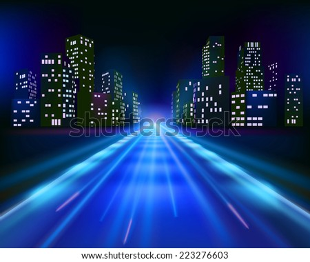 Road to the city. Vector illustration - stock vector