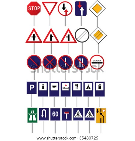 Road traffic different vector signs collection - stock vector