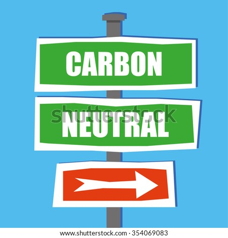 Road traffic or street name signs on a standing pole in a hand drawn style, with the words Carbon Neutral added in white text and an arrow pointing this way - stock vector