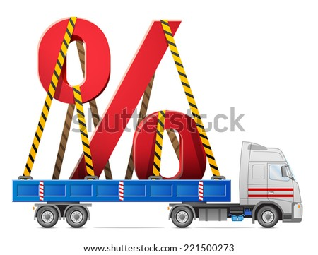 Road transportation of percentage symbol. Big percent sign in back of truck. Qualitative vector (EPS-10) illustration for banking, financial industry, sale, discount, calculation, etc - stock vector