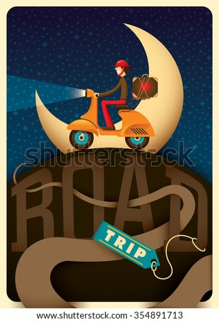 Road trip by night. Vector illustration. - stock vector