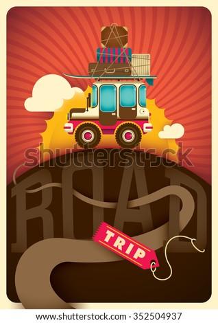 Road trip illustration. Vector illustration. - stock vector