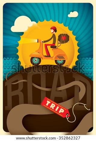 Road trip illustration with comic guy. Vector illustration. - stock vector