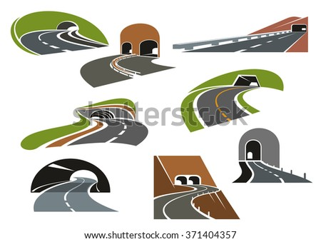 Road tunnels symbols for travel, car trip and transportation design. Colorful icons of underpass freeways and mountain highways leading to tunnels with decorative arched and square entrances - stock vector
