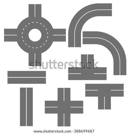 road turns. Different types of roads. Turns direct and circles. Set of road elements with roundabouts, Road elements.  - stock vector