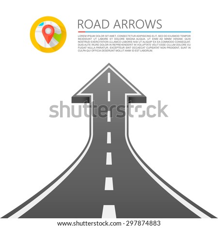 Road with an arrow up. Road cover up, Vector illustration - stock vector