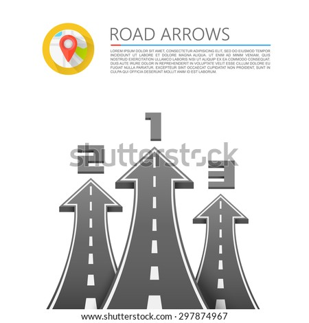 Road with an arrow up. Vector illustration - stock vector