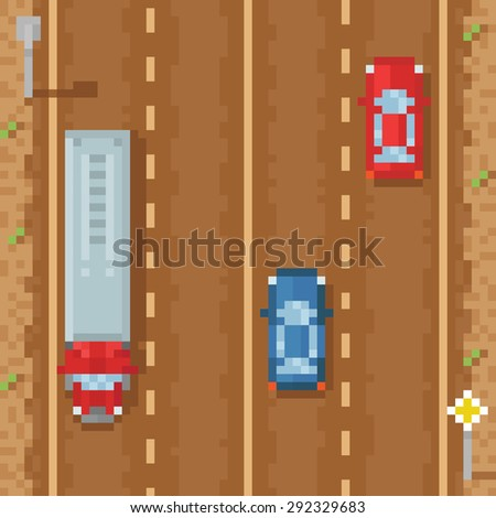 Road with red blue cars and cargo truck - retro pixel art - stock vector