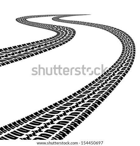 Road with traces of tires.Black and white.Clipping Mask. - stock vector