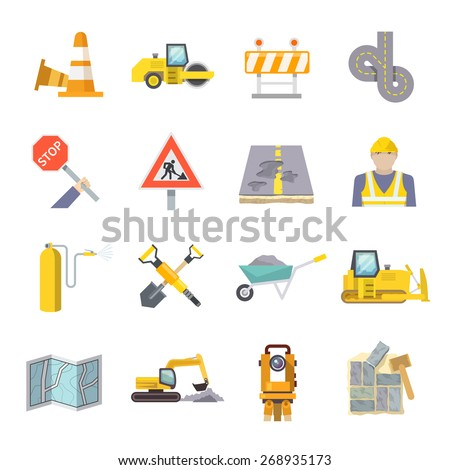 Road worker flat icons set with construction industry symbols and tools isolated vector illustration - stock vector