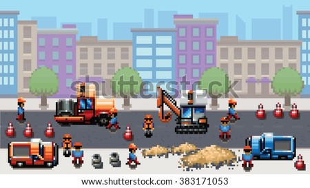 road works - pixel art scene video game style vector layer illustration - stock vector