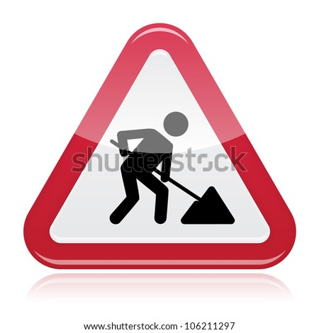 Road works sign, under construction. Red glossy road sign with working man isolated on white background. - stock vector