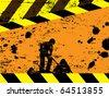 road works under construction background, vector illustration - stock vector
