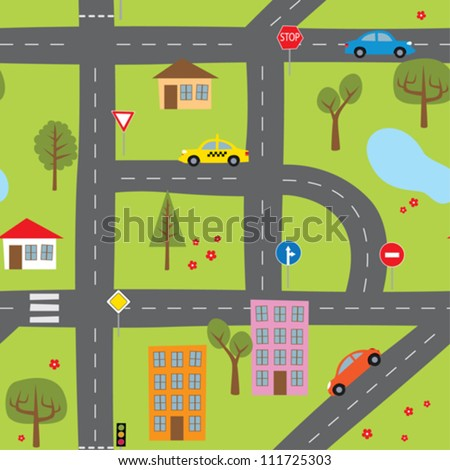Roads seamless - stock vector