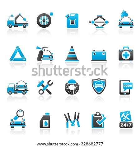 Roadside Assistance and tow  icons  - vector icon set - stock vector