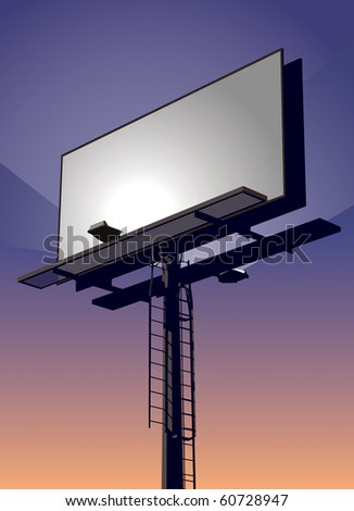 Roadside billboard sign at sunset with blank front for your message. - stock vector