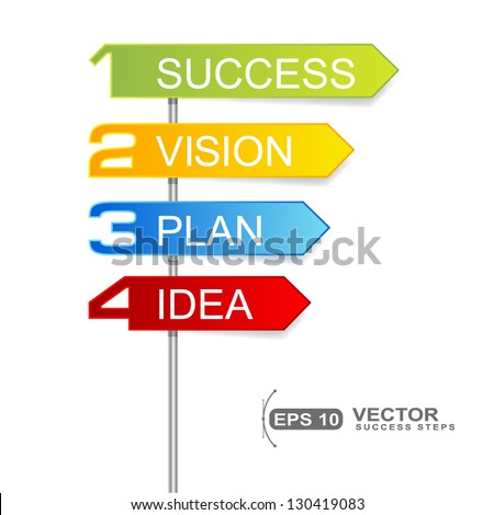 roadsigns indicator signs steps for business success isolated on white - success concept  - stock vector