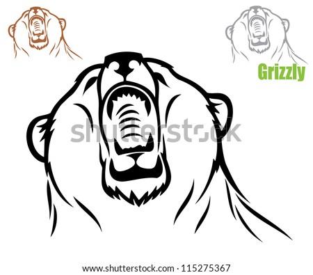 Roaring bear - vector illustration - stock vector