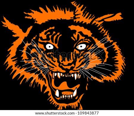 Roaring tiger head - stock vector