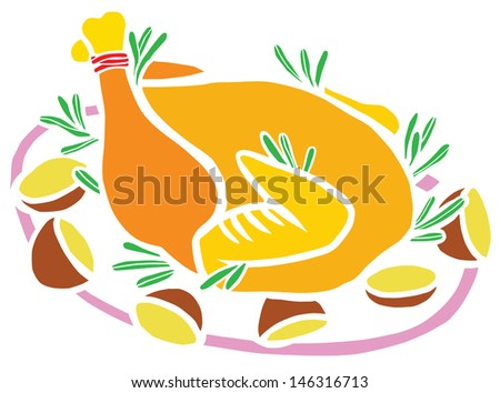Roasted Christmas Turkey with Potatoes - stock vector