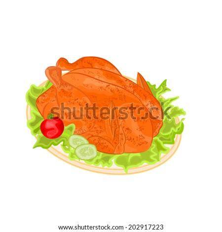 Roasted holiday turkey on platter with garnish vector illustration - stock vector