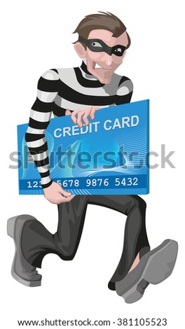 Robber man stole credit card. Stealing money online. Isolated on white vector illustration - stock vector