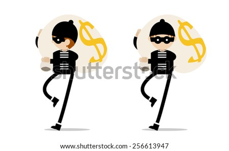 Robber with bag of money - stock vector