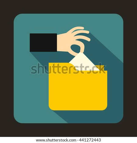 Robbery secret data in yellow folder icon in flat style on a blue background - stock vector