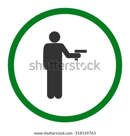 Robbery vector icon. This rounded flat symbol is drawn with green and gray colors on a white background. - stock vector