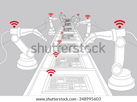 robot arms and conveyor belt, Factory automation, Industry 4.0, Internet of Things, line drawing illustration - stock vector