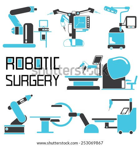 robot-assisted surgery set, robotic surgery icons - stock vector