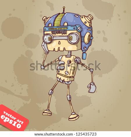robot boy listening to music - stock vector