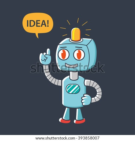 Robot character pointing finger up and having an idea. - stock vector