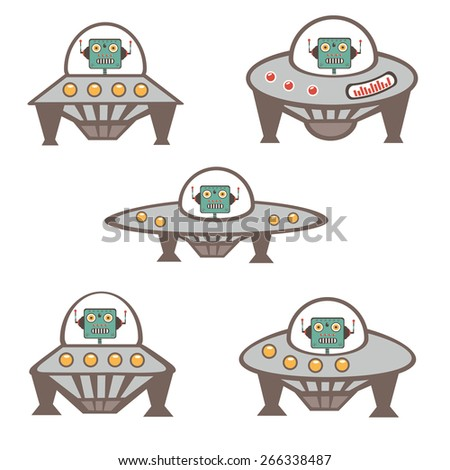 Robot characters in spaceship collection. Colorful vector illustration - stock vector