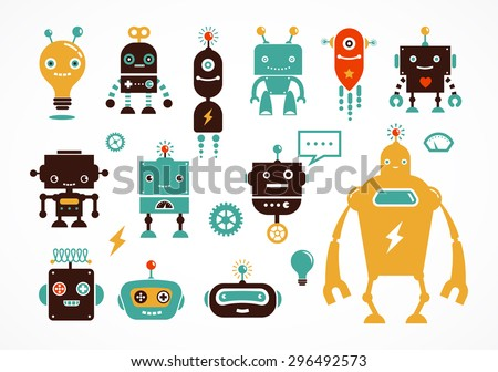 Robot cute icons and characters - stock vector