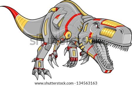 Robot Cyborg Tyrannosaurus Rex Dinosaur Vector Illustration - stock vector
